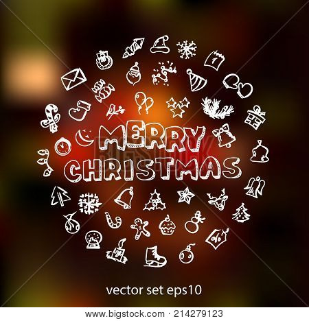 Vector doodle christmas icons set with background. Stock cartoon signs for design.