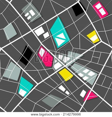 Seamless structure of map of nonexistent city. Black pattern with white lines and colored polygons.