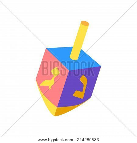 Hanukkah Festival of Lights. Dreidel a small four-sided spinning top with a Hebrew letter on each side, used by the Jews. Spinning top, wood dreidel isolated on white background, symbol of Hanukkah Jewish Holiday logo flat design.