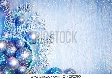 Merry Christmas and Happy New Year. A New Year's background with New Year decorations. New Year's card. Background with copy space.