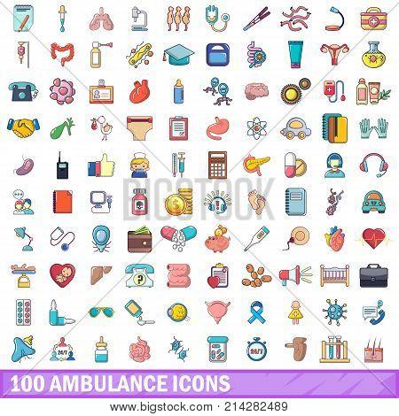 100 ambulance icons set. Cartoon illustration of 100 ambulance vector icons isolated on white background