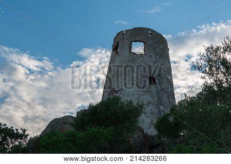 Saracen Tower In Italy In Sardina Coast