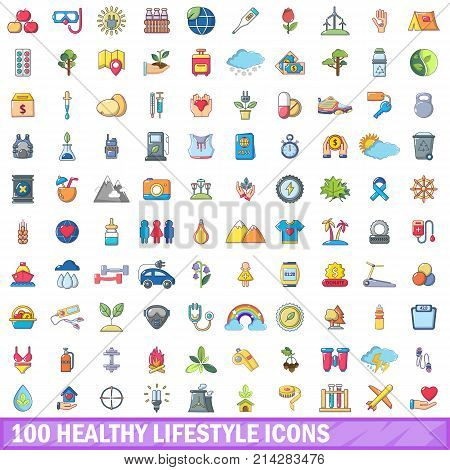 100 healthy lifestyle icons set. Cartoon illustration of 100 healthy lifestyle vector icons isolated on white background