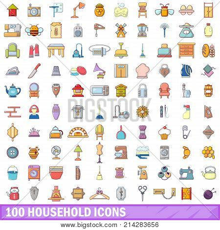 100 household icons set. Cartoon illustration of 100 household vector icons isolated on white background