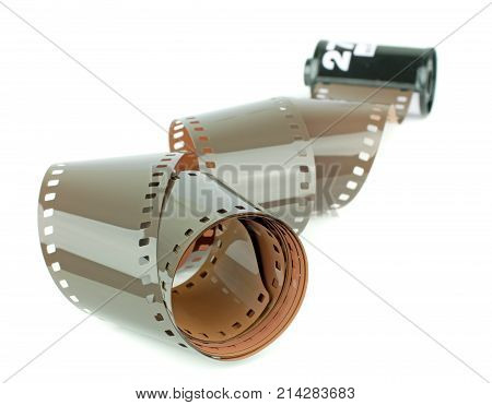 A roll of 35mm camera film on a white background