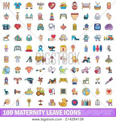 100 maternity leave icons set. Cartoon illustration of 100 maternity leave vector icons isolated on white background