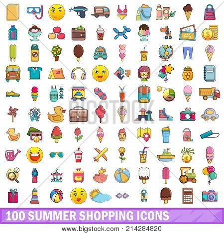 100 summer shopping icons set. Cartoon illustration of 100 summer shopping vector icons isolated on white background