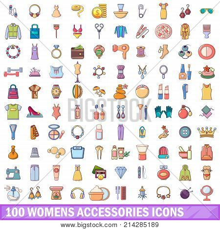 100 womens accessories icons set. Cartoon illustration of 100 womens accessories vector icons isolated on white background