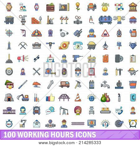 100 working hours icons set. Cartoon illustration of 100 working hours vector icons isolated on white background