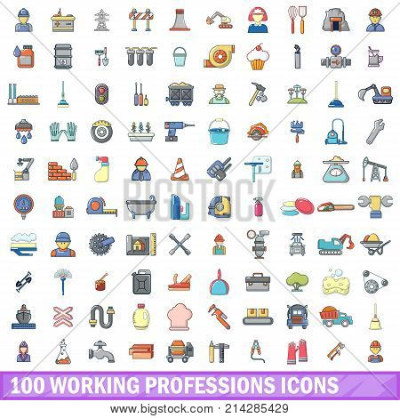 100 working professions icons set. Cartoon illustration of 100 working professions vector icons isolated on white background
