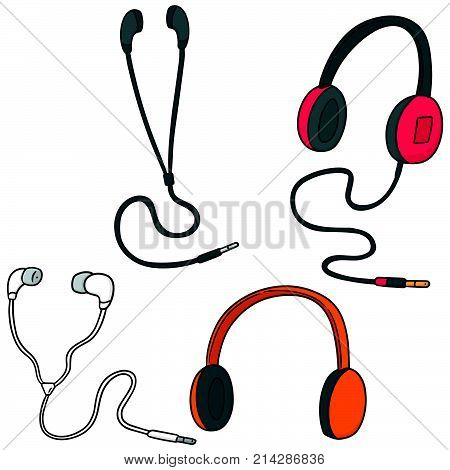 vector set of headphone and earpiece hand drawn cartoon