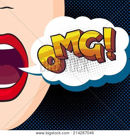 pop-art style vector illustration, beautiful mouth says omg