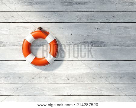 Red lifebuoy on a white wooden wall. 3d rendering
