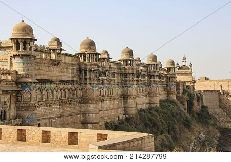 Gwalior fort  in summer in Madhya Pradesh India