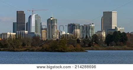 DENVER,COLORADO,AMERICA- NOVEMBER 06,2017:View of Denver Colorado seen across the water beautiful lake in sunny day.