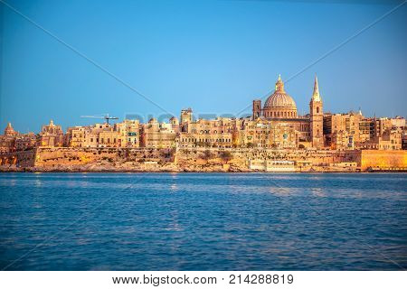Beautiful View Of Basilica Our Lady Mount Carmel In Valletta From Sliema, Malta