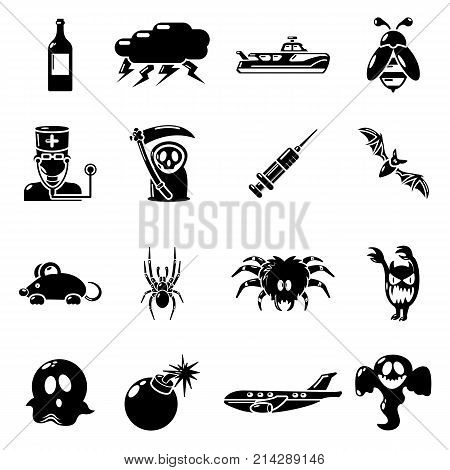 Fears phobias icons set. Simple illustration of 16 fears phobias vector icons for web