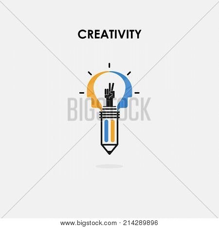 Creative light bulb and Success concept.Pencils and Human heads vector logo design.Creativity and Brainstorming.Teamwork and Partnership concept.Business and industrial creative logotype symbol.Vector flat design illustration
