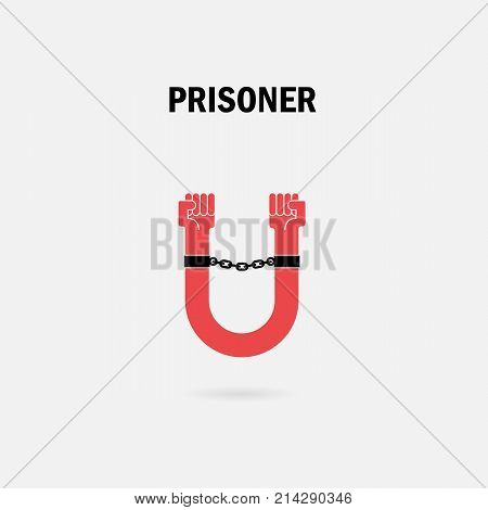 Human hands and the chain with U Letter symbols.Prison with Prisoner symbol.Dependence and Un-freedom concept.Vector illustration