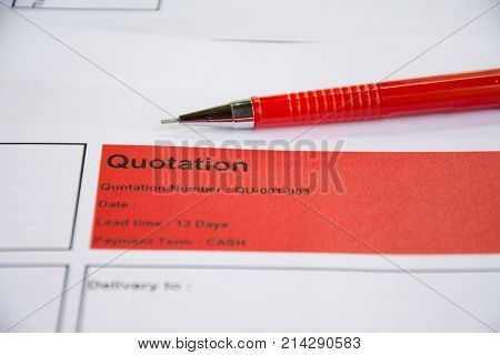 Quotation business document sign on paper background