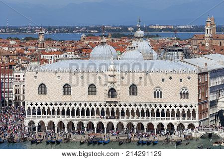 VENICE ITALY - SEPTEMBER 21 2017: Aerial view on Doge's Palace (Palazzo Ducale) on St Mark's Square. The palace was the residence of the Doge of Venice the museum is currently located here