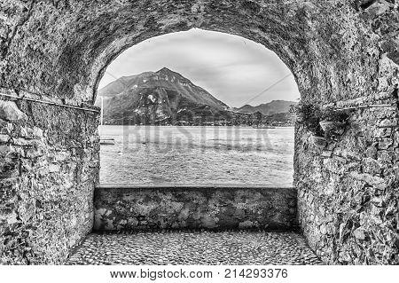 Rock Balcony Facing Lake Como In Varenna, Italy