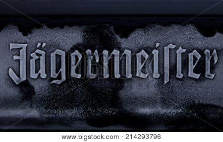 London, Uk - November 17, 2017: Bottle Of Jagermeister On White Frost Dew Label.. German Digestif Ma