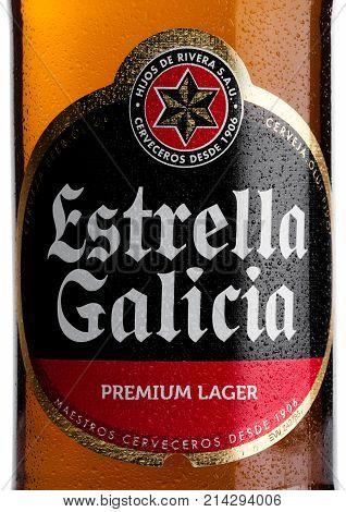 London, Uk - November 17, 2017: Bottle Label Of Estrella Galicia Pale Lager Draft Beer On White. Est