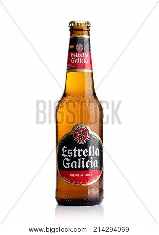London, Uk - November 17, 2017: Bottle Of Estrella Galicia Pale Lager Draft Beer On White. Estrella