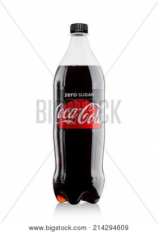 London, Uk - November 17, 2017: Bottle Of Zero Coca-cola On White. Coca-cola Is One Of The Most Popu