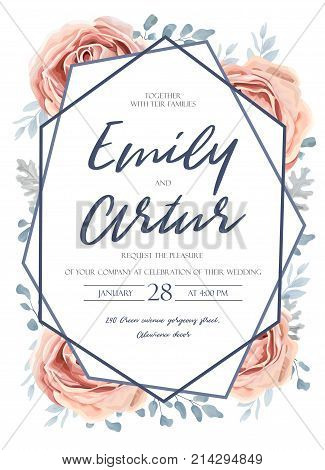 Wedding invite invitation save the date card design: pink peach garden rose flower blue dusty miller leaves fern greenery forest bouquet and geometric frame. Vector tender rustic postcard editable template