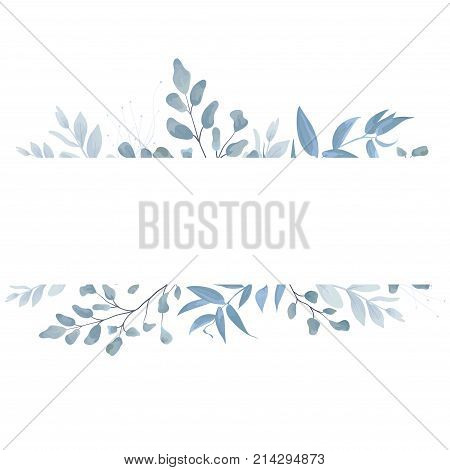 Vector floral card postcard invite design with light watercolor hand drawn blue color dusty leaves fern greenery forest herbs plants. Tender elegant frame border copy space. Beauty editable layout