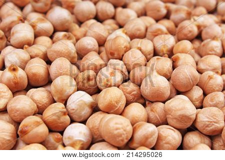 Chickpeas texture pattern as background. Food photo.