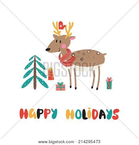 Christmas background with reindeer Christmas tree and gifts inscription - Merry Christmas. Vector illustration.