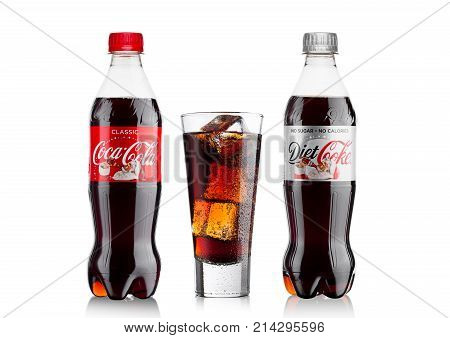 London, Uk - November 17, 2017: Bottles Of Classic And Diet Coca-cola On White. Coca-cola Is One Of