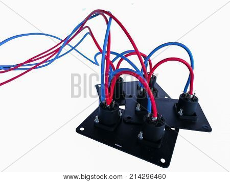 Concert equipment with connection cables to connect the equalizer amplifier speakers and other musical instruments