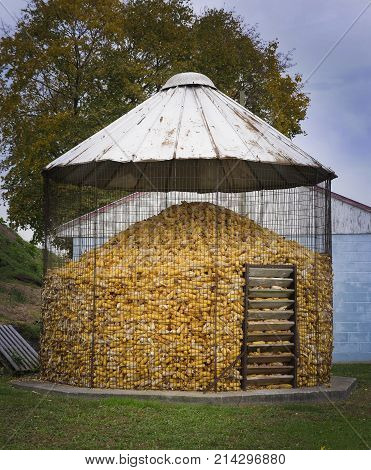 Old Fashioned Corn Storage Silo On An Amish Farm