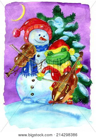 Friends snowman in Santa hat and frog in Santa costume playing Christmas music against conifer. Hand drawn illustration for poster greeting card invitation