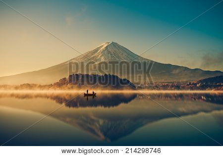 Mount fuji at Lake kawaguchiko Sunrise vintage Japan. mount Fuji. mount Fuji Japan. mount Fuji at lake Kawaguchiko, japan. mount Fuji and maple. mount Fuji. landscape