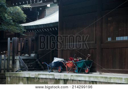 Wheelbarrow handcart park in Shinto Japanese temple
