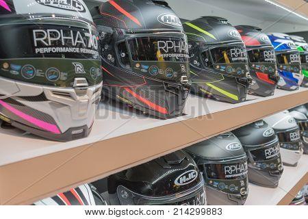 Motorcycle Helmets On Display