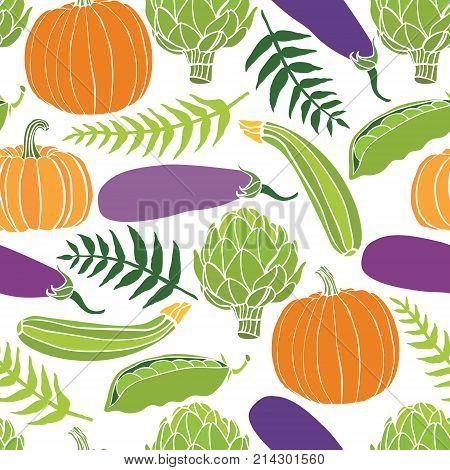 Fresh vegetables seamless background pumpkins peas artichokes and eggplant