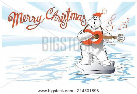 Polar Bear playing guitar and singer cartoon acting character design for Christmas and New year card vector isolate on white has clipping paths.