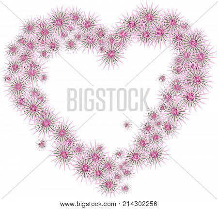 Floral card template of abstract flowers arranged in heart shape; pink and green colors isolated on white background. Creative design of vector illustration. Concept of valentine, love, wedding.