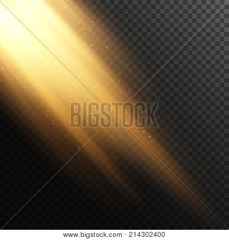 Rays of light from the window background. Vector effect. Transparent background. Beam with dust. Light effect. Warm orange flare effect. Falling rays with particles.
