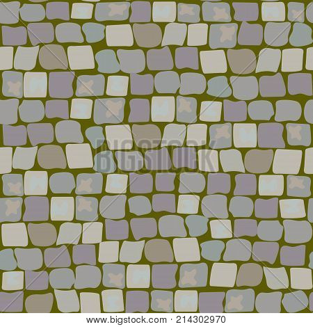 Stone vector texture, ground seamless pattern with green moss and turf for design, landscape gardening, outdoor interiors. pavement, walkway, road, ground, crude, pebble, wall of stone, cobbled street