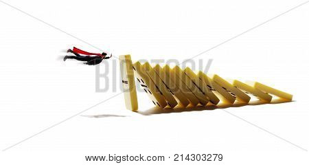 Man with red cloak trying to stop falling domino. Business crisis management and solution concept. Isolated on white background.