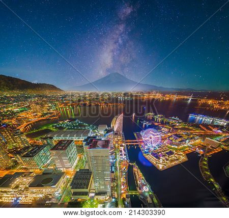 Aerial Night View Of Yokohama Cityscape And Bay At Minato Mirai Waterfront District From Yokohama La