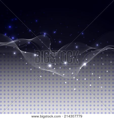 Vector abstract glowing transparent elemen. Vector blue design with glitter effect. Abstract background technology. Vector digital design. Retro template. Disco party