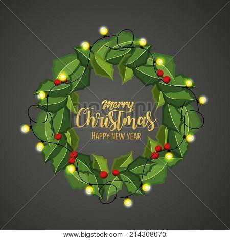 Crown o merry christmas season and decoration theme Vector illustration